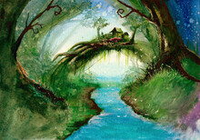 Watercolor Picture Of A Fairy Tale Forest, With River And Small House With Garden