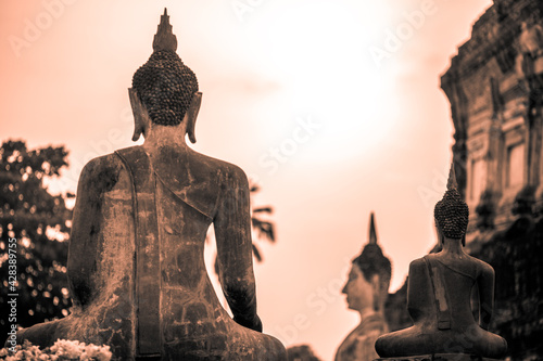 Fototapeta Background of old Buddha statues in Thai religious attractions in Ayutthaya Province, allowing tourists to study their history and take public photos