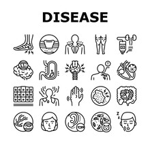 Disease Human Problem Collection Icons Set Vector. Epithelial Tissue And Toxoplasmosis, Ear Surgery And Cellulite, Skin Itch And Lymphoma Disease Black Contour Illustrations