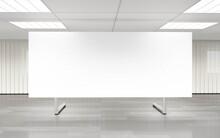 Empty Blank Flip Chart White Board In Big Office 3d Render Illustration
