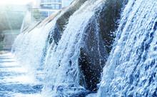 Waste Water Treatment Plant. Modern Urban Wastewater Treatment Plant. Cold Transparent Water Of Decorative Artificial Waterfall