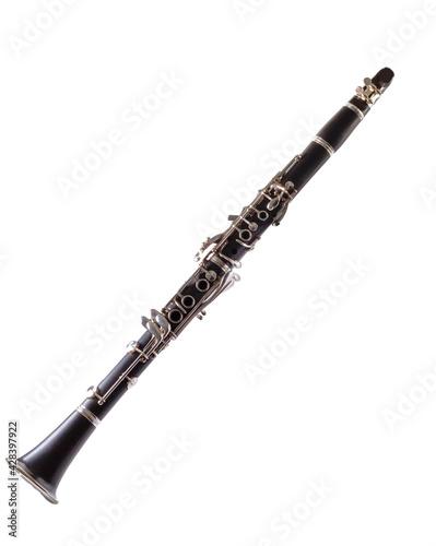 Clarinet on white background French model clarinet (Boehm standard keys) Fototapet
