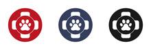 Pet First Aid Icons Set. Dog Or Cat Paw Print. Medical Cross Symbol. Illustration