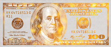 Golden Textured 100 US Dollar Banknote