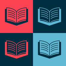 Pop Art Open Book Icon Isolated On Color Background. Vector