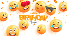 Birthday Banner With Festive 3d Round Balloons With Happy Smiles Face Expressions And Confetti