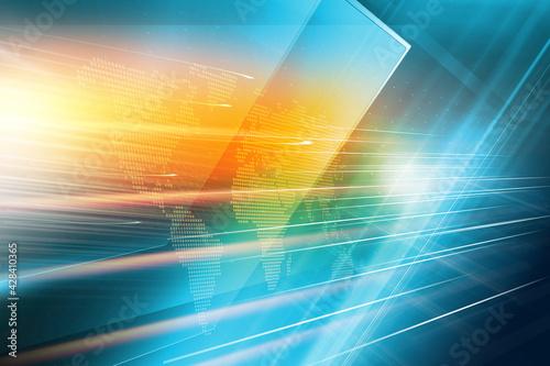 Tela 3D rendering of modern studio space with diagonal big flat TV screens for breaki