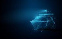 Container Cargo Ship Boat In The Sea. Logistics Import, Export, Shipping Or Transportation Concept Background. Low Poly, Geometric, Wire, Particles, Lines, And Triangles. 3d Vector Illustration