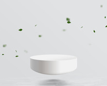 Half Sphere Mockup Floating On Water With Leaf Falling Background. Futuristic Technology Digital Hi Tech Concept