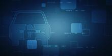 2d Illustration Car Safety Concept: Closed Padlock On Digital Background
