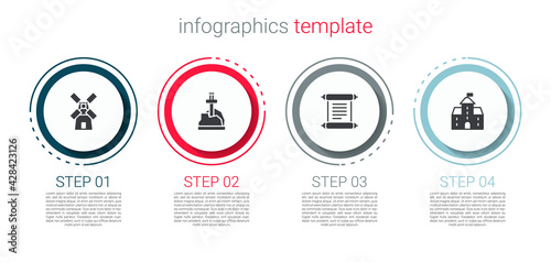 Fototapeta Set Windmill, Sword the stone, Decree, parchment, scroll and Castle, fortress. Business infographic template. Vector obraz