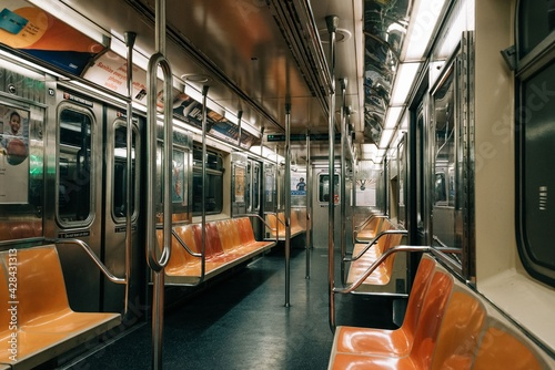 Fototapeta Empty 6 train subway car in New York City obraz