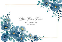 Blue Floral Frame Background With Watercolor