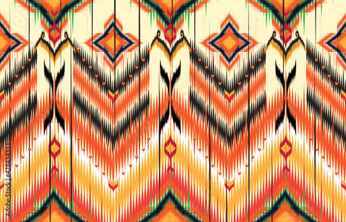 Photo Geometric ethnic pattern embroidery design for background or wallpaper and clothing