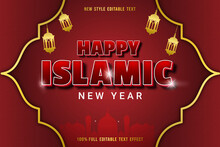 Editable Text Effect Hapy Islamic New Year Color Red And Black