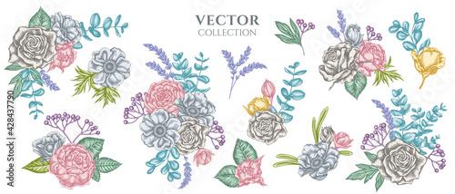 Foto Flower bouquet of pastel roses, anemone, eucalyptus, lavender, peony, viburnum