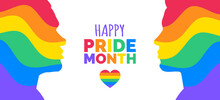 Happy Pride Month Two Men Silhouettes In Lgbt Rainbow Colors Abstract Waves Vector Illustration