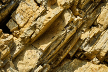 Layers Of Limestone Plates In The Germanic Triassic Of The Harz Foreland, Oblique With Parallel Layering And Orthogonal Fractures