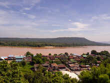 Mekong River View With The Community Ubon Ratchathani, Thailand.