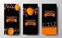 Social Media Stories Banner Labor Day With 3D Safety Yellow Helmet Worker Hammer Wrench Screwdriver With Yellow Line