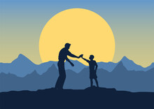 Fathers Day Background With Silhouette Of Father And Son