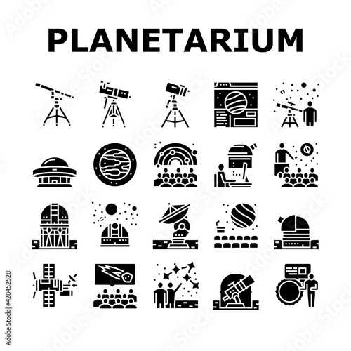 Canvas Print Planetarium Equipment Collection Icons Set Vector
