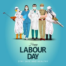 A Group Of People Of Different Professions. Doctor, Business Man, Worker. Set Of Occupations. Labour Day On 1 May. Coronavirus, Covid-19 Concept. Vector Illustration.