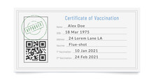 Filled Up Vaccination Certificate With Stamp Of Approval.