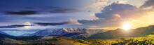 Time Change Concept Above Mountainous Rural Panorama Landscape In Springtime With Sun And Moon. Beautiful Scenery Beneath A Sky With Clouds. Grass Covered Hill Rolling In To The Distant Ridge