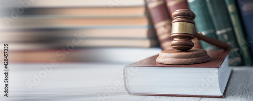 Canvas Print judge on law book
