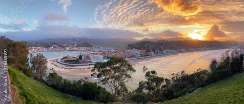 Panoramic sunset view of the city of Ribadesella.Asturias, Spain.