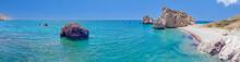 Panoramic View Of The Mediterranean Coast In The Area Of Aphrodite's Stone. Petra Tou Romiou, Cyprus