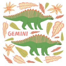Gemini Dinosaur Cartoon Character Vector Illustration. Funny Animal Astrology Zodiac Sign Isolated On White. Cute Hand Drawn Herbivorous Reptile Twins. Childish T Shirt, Poster Print Typography Design