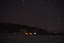 Night Starry Sky Over The Village House