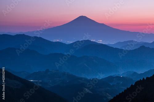 Tela 静岡市清水区吉原夜明けの富士山と茶畑