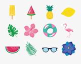 Fototapeta Sypialnia - twelve summer icons