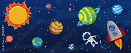 Canvas Many planets in the galaxy with an astronaut and a rocket ship