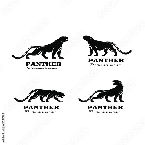 premium set collection black panther vector logo illustration design Fototapeta