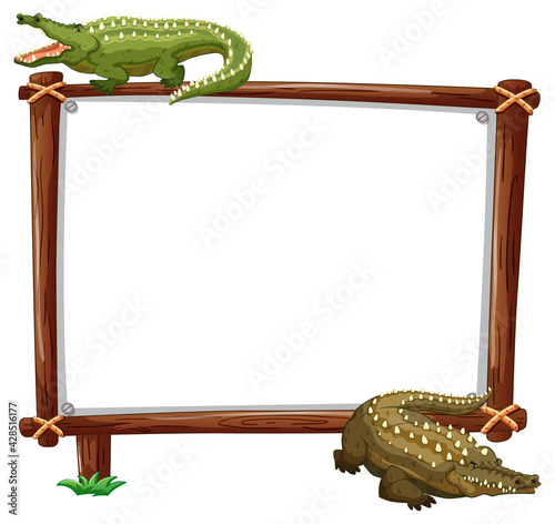 Fotografering Empty banner with two crocodiles on white background