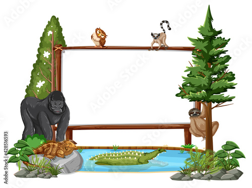 Fotografie, Obraz Empty banner with wild animals and rainforest trees on white background