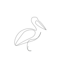 Pelican Bird One Line Drawing On White Background