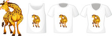 Giraffe In Stand Position Cartoon Character With Many Types Of Shirts On White Background