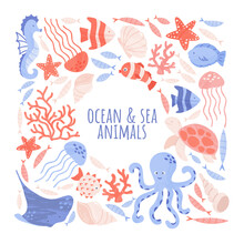 Sealife Creatures Arranged With Balnk Space For Text. Pre-made Card Or Poster Design With Sea And Ocean Animals