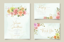 Beautiful Hand Drawn Wedding Invitation Design Set