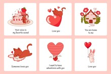 Romantic Animals Posters. Cartoon Greeting Cards. Funny Cats And Rabbits. Cute Valentines Collection. Kitten Giving Balloon And Bunny With Red Heart Symbol. Vector Holiday Banners Set