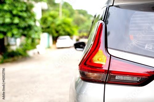 Cuadros en Lienzo Light brake red color backside of car