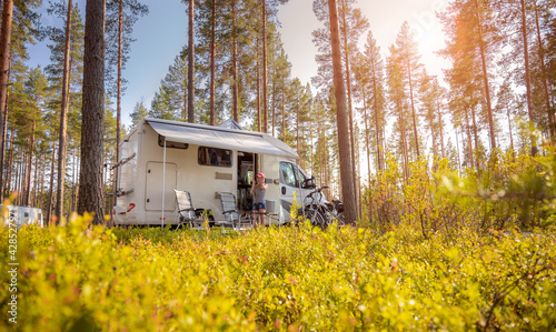Canvas Family vacation travel RV, holiday trip in motorhome
