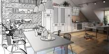 Attic Loft Conversion In Design (draft) - Panoramic 3d Visualization