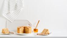Layered Honey Cake Medovik. Traditional Russian Cuisine.