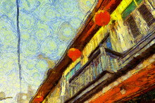 Old Wooden House Building Illustrations Creates An Impressionist Style Of Painting.